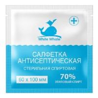 Салфетки антисептические стерильные спиртовые White Whale 70% этиловый спирт 60мм х 100мм
